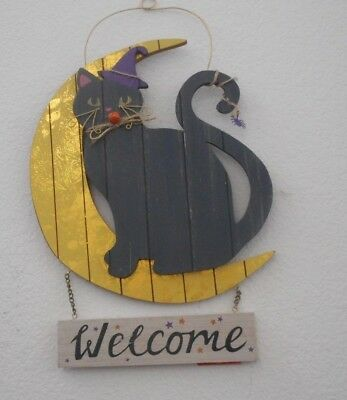 Black Cat Moon Welcome  wood sign plaque wall hanging Witch Halloween decor