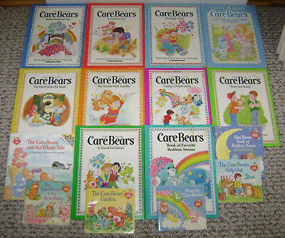 16 Vintage Care Bears Books Parker Brothers Hugs & Tugs Grumpy Good Luck 1980's
