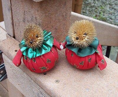 Hand Made Adorable Hedgehog Pair Fancy Attire 2 Ornaments Made in Europe Thistle