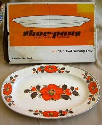 Modernist Mid Century New in Box Vintage 60s Show Pan Server Serving Platter 18""