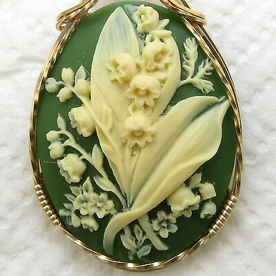Lily Of The Valley Flower Cameo Pendant 14K Rolled Gold Jewelry Green Resin