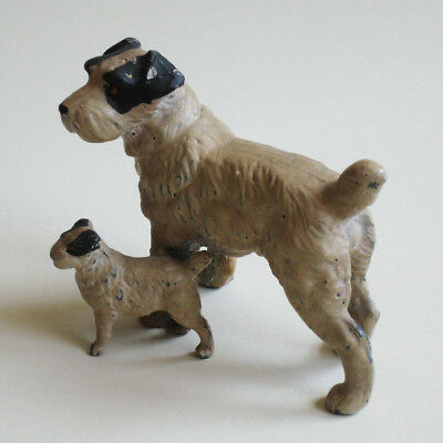 Dog Figurine Fox Terrier with Puppy Painted Metal