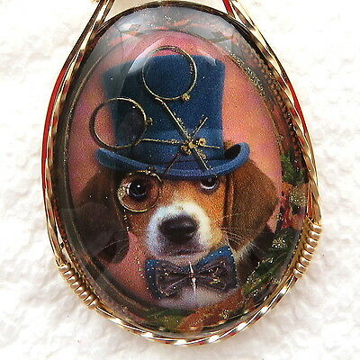 Beagle Dog Glitter Glass Cabochon Cameo Pendant 14K Rolled Gold Jewelry