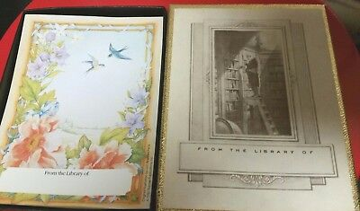 Antioch Vintage Bookplates 35 Man on Library Ladder & Floral Bird FROM THE L OF