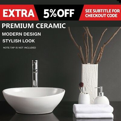 16 inch Round Wash Basin Bathroom Sink Bowl Glossy Above Counter Top Vanity Oval