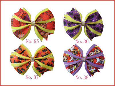 """100 BLESSING Girl 4.5"""" Two Tone Wendy Hair Bow Clip Winter Halloween Christmas"""