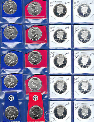 2013 through 2017 PDSS BU, Clad AND Silver Proof Kennedy Half Dollars-20 Coins