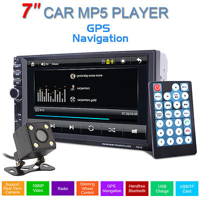 """7"""" HD Double 2DIN Car Stereo Touch MP3 MP5 Player Bluetooth Radio GPS +IR Camera"""