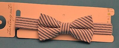 STARTING OUT~~Baby Boys Blue & White Striped Adjustable Bow Tie