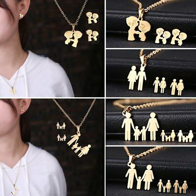 Stainless Steel Couple Family Hand In Hand Necklace Stud Earrings Jewelry Set