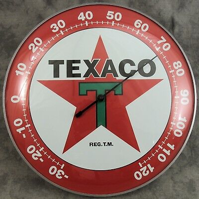 "Texaco™ T Star Thermometer 12"" Round Glass Dome Sign ~ Red Star ~"