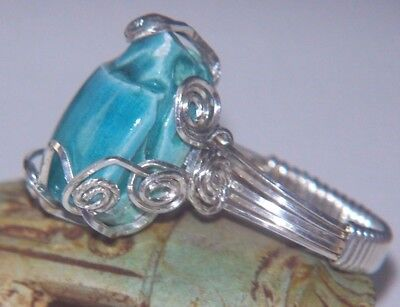 Egyptian SCARAB Ring Turquoise Glazed Ceramic Wire Wrap Sterling Silver sz 8