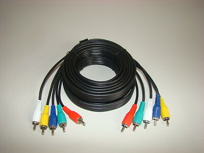LOT OF THREE 5 RCA COMPONENT AUDIO VIDEO CABLES 12 FT For DVD/VCR/TV/HDTV Camera