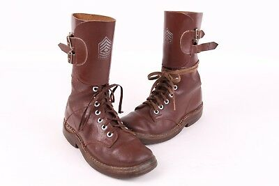Vtg 40S Wwii Leather Combat Buckle Jump Boots Kids Usa