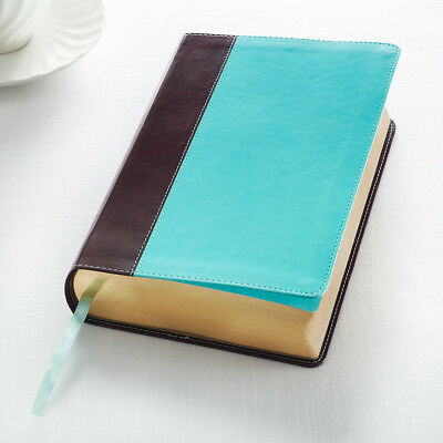KJV Holy Bible King James Version Giant Print Teal/Brown Faux Leather BRAND NEW