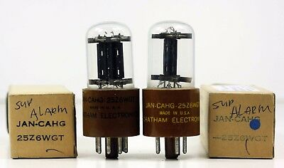 NOS NIB Pair Chatham Tung Sol JAN CAHG 25Z6 WGT Rectifier Tubes - Hickok Tested