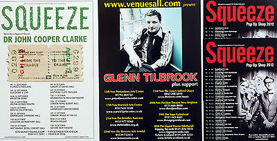 6 X Squeeze & Glenn Tilbrook Tour Flyers - 2015 From The Cradle To The Grave Etc