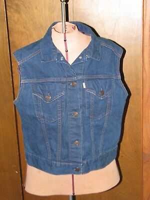 Vintage 1980s Levi's Plowboy Farmers Mechanics Miners Denim Vest - Youth L