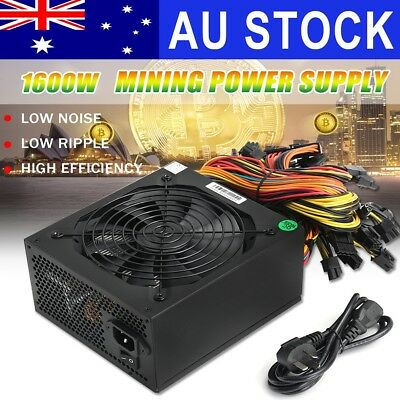 1600W Power Supply For 6 GPU Eth Rig Ethereum Coin Miner Mining Machine 90 Gold