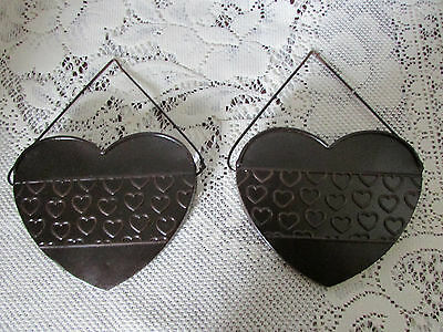 Lot of 2 HEART Metal Wall Hanging Planter Wall Pockets