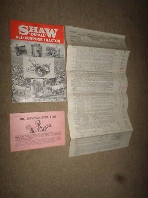 """LOT 3--1937 Shaw """"Du-All All-Purpose Tractor"""" Dealer Brochure & Price Lists"""