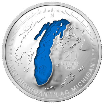 """2015 Rcm The Great Lakes """"lake Michigan"""" $20 Fine Silver Coin"""