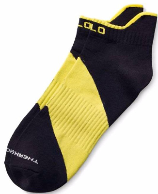 Polo Sport Men's Black & Yellow Sporty Ankle Performance Low Cut Socks Lot of 9