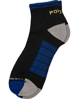 Polo Sport Men's Black & Royal Sporty Ankle Performance Quarter Socks Lot of 6