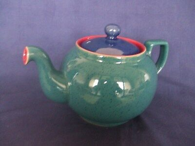 Denby Harlequin 2 Pint Teapot A1 Condition ~ Green Outer ~ Red Inner ~ Blue Lid