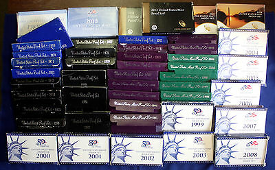 Complete Collection of 1968-2014 Proof Sets One Lot With Boxes & COAs