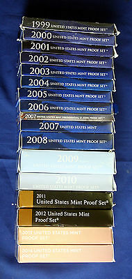 Collection of 1999-2014 Proof Sets One Complete Lot With Boxes & COAs