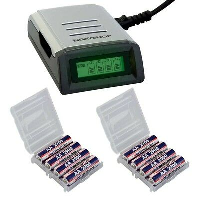 Fast Intelligent Battery Charger with 8x AA 2900mAh NiMH Rechargeable Batteries