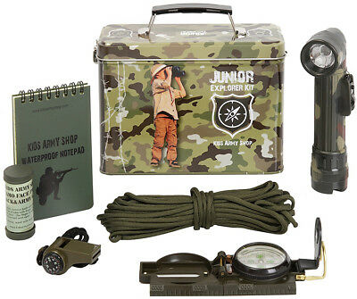 KAS Kids Boys Army Camo Junior Explorer Kit Play Soldier Torch Pack Compass Set