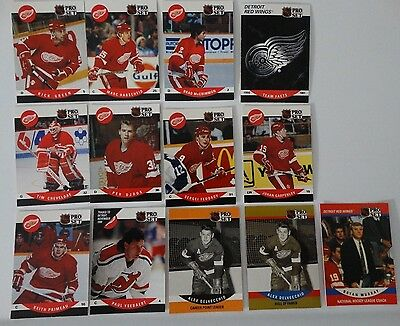 1990-91 Pro Set Series 2  Detroit Red Wings Team Set of 14 Hockey Cards