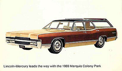 Advertising Postcard 1969 Lincoln-Mercury Marquis Colony Park Station Wagon