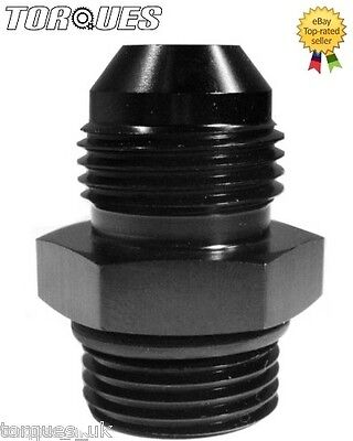 """AN -8 (AN) to ORB-6 (AN-6 9/16"""" UNF) O-Ring Boss Adapter In Black"""