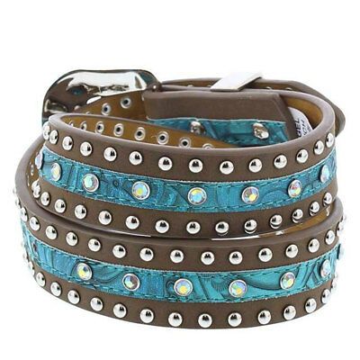 A5232 Angle Ranch Girls' Tan & Turquoise Floral Western Belt  NEW