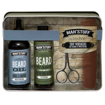 Technic Man'Stuff Tidy Whiskers 4pc Beard Grooming Kit Xmas Gift Set For Him