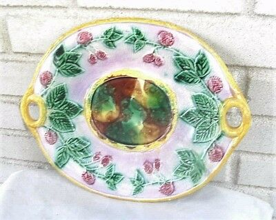 Outstanding Antique English Majolica Art Pottery Platter Berries & Leaves