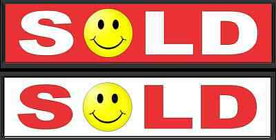 "1 RED 1 White SOLD SMILEY FACE 6""x24"" REAL ESTATE RIDER SIGNS Buy 1 Get 1 FREE"