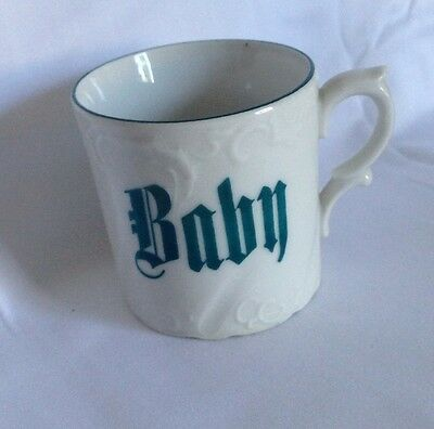 Baby Cup Christening Mug Antique  Nursery Green Gift Hand Painted Porcelain