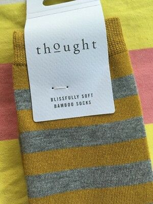 THOUGHT (formerly BRAINTREE) Bamboo Men's Socks - MUSTARD YELLOW STRIPE 7 to 11