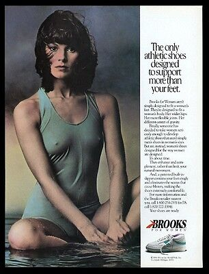 1988 Brooks tennis shoes sexy woman photo vintage print ad