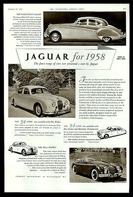 1958 Jaguar XK150 XK 150 convertible 3.4 Mark VIII 3 car photo UK print ad