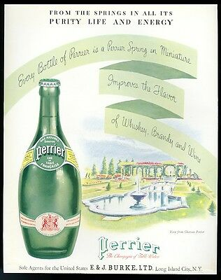 1934 Perrier water big bottle and Chateau garden art vintage print ad
