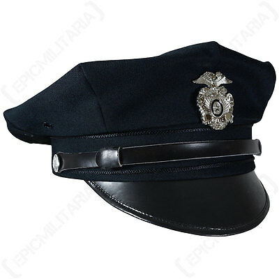 Vintage US American POLICE FORCE 8 POINT VISOR CAP Officer Hat All Sizes - Blue