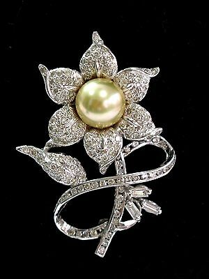 Fine South Sea Pearl Diamond 14Kt White Gold Flower Brooch 10.5mm 1.90Ct 2""