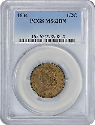 1834 Half Cent MS62BN PCGS Mint State 62 Brown