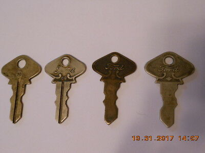 Lot of Four (4) Antique Model T Model A Keys All Different Numbers