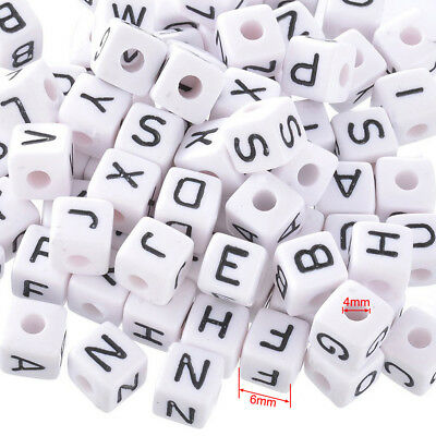100 x 6mm Acrylic White Letter Alphabet Cube Beads Mixed Single A-Z Jewellery